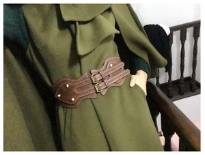 Horse leather double buckle elastic waist wide belt wholesale fashion ladies coat girdle