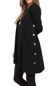 Women's Long Sleeve Scoop Neck Button Side Tunic Dress