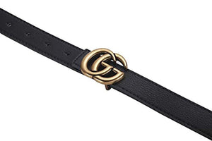 GG Women's Genuine Leather Retro Vintage Dress Belts for Jeans with Letter Buckle