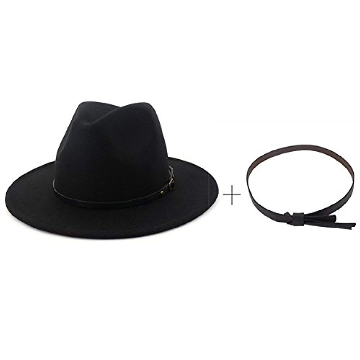 275eb14a8d Lisianthus Women Wide Brim Wool Fedora Panama Hat with Belt Buckle