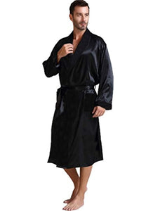 Lonxu Mens Silk Satin Bathrobe Robe Nightgown_Big and Tall S~3XL Plus