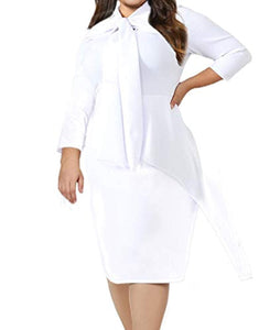Women's Plus Size Long Sleeve Peplum Tie Neck Bodycon Pencil Midi Dress