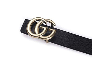 POKTOK Womens G-Style Genuine Leather Belt Vintage Thin Dress Belts For Girl Fashion Belt For Jeans With Letter Buckle