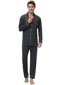 Aibrou Mens Pajamas Set Cotton Long Sleeve Solid Woven Button-Down Sleepwear