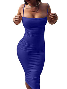 Women's Sexy Spaghetti Strap Sleeveless Bodycon Midi Club Dress