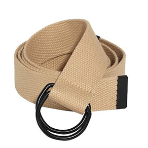 ITIEZY 2 Pcs Canvas Web Belt with Black Double D-Ring Buckle Military Striped Belts for Men