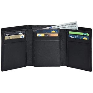 RFID Leather Trifold Wallets for Men - Handmade Slim Mens Wallet Credit Card Holder with ID Window