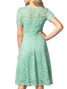 Women's Vintage Floral Lace Elegant Cocktail Formal Swing Dress with Short Sleeve