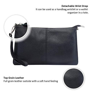 Befen Women's Leather Wristlet Clutch Phone Wallet, Mini Crossbody Purse Bag with Card Slots