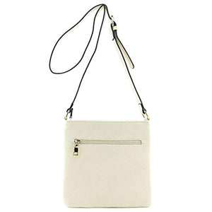 Medium Size Solid Modern Classic Crossbody Bag with Gold Plate
