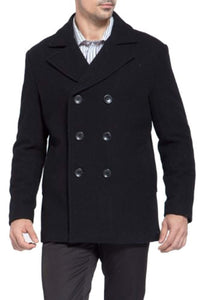 BGSD Men's 'Mark' Classic Wool Blend Pea Coat (Regular Big & Tall)