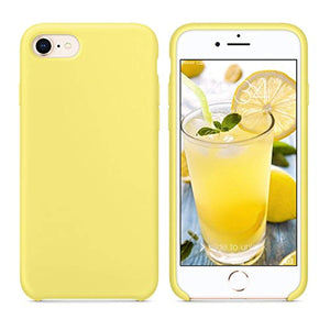 "SURPHY Silicone Case for iPhone 8 iPhone 7 Case, Soft Liquid Silicone Slim Rubber Protective Phone Case Cover (with Microfiber Lining) for iPhone 7 iPhone 8 4.7"", Yellow"