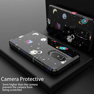 PBRO LG Stylo 4 Phone Case/LG Stylo 4 Case/LG Q Stylus Case,Cute Astronaut Case Dual Layer Soft Silicone & Hard Back Cover Heavy Duty PC+TPU Protective  Shockproof Case for LG Stylo 4 Case Space/Black
