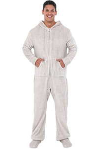 Alexander Del Rossa Mens Fleece Solid Colored Onesie, Hooded Footed Jumpsuit Pajamas
