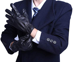 BOTINDO Touchscreen Leather Gloves, Lined Winter Driving Gloves for Men