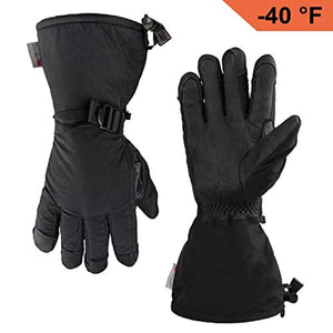 OZERO Winter Ski Gloves Cold Proof Work Glove with Thermal 3M Thinsulate Insulation Cotton and Cowhide Leather Palm - Water Resistant and Windproof for Skiing/Snowmobile/Shoveling Snow - Gold/Black