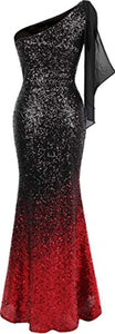 Women's Asymmetric Ribbon Gradient Sequin Mermaid Long Prom Dress