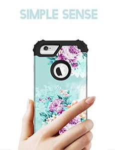 PIXIU for iPhone 6 Case,for iPhone 6s case Unique Hybrid Heavy Duty Shockproof Full-Body Protective Case with Dual Layer Cases for Apple iPhone 6/6s 4.7inch (Peony)