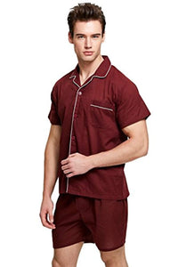 TONY AND CANDICE Men's Cotton Pajama Set, Short Sleeve Woven Sleepwear with Shorts, Button Down Nightwear