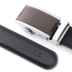 TOAOLZ Mens Slide Ratchet Dress Leather Belt with Automatic Zip Buckle Click Strap