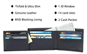 Travelambo Genuine Leather RFID Blocking Wallets Mens Wallet Bifold Left ID