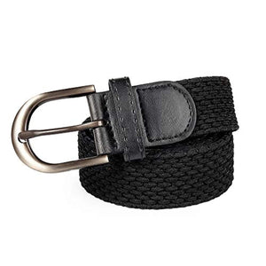 Braided Stretch Elastic Belt Pin Oval Solid Black/Satin Nickel Buckle Leather Loop End Tip Men/Women/Junior(24 Colors)
