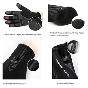Jeniulet Mens Winter Warm Gloves 100% Waterproof and All Finger Touch Screen Gloves for Cycling and Outdoor Work
