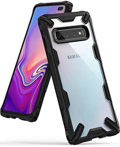 "Ringke Fusion-X Designed for Galaxy S10 Plus (6.4"") Case, Built in Dot Matrix Rear PC Anti-Cling Renovated Bumper [Military Drop Tested Defense] Double Protection for Galaxy S10 Plus (2019) - Black"