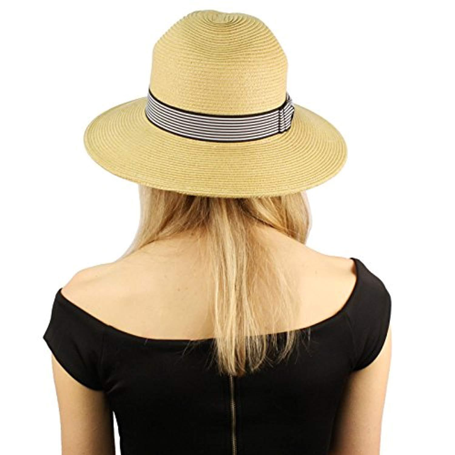 Anchor Hat Sun Hat Fedora Straw Beach Protection Tribly Nautical Sail Boat BLUE