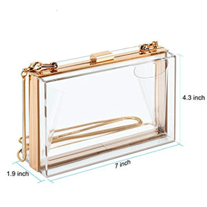 Cute Transparent Clear Acrylic Crossbody Box Clutch Evening Bag Shoulder Handbag Gold Chain Purse For Women