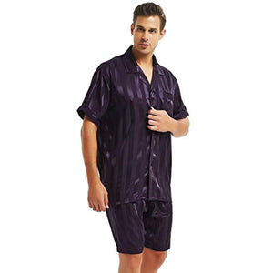 Mens Satin Short Pajamas Set Sleepwear Loungewear S~4XL