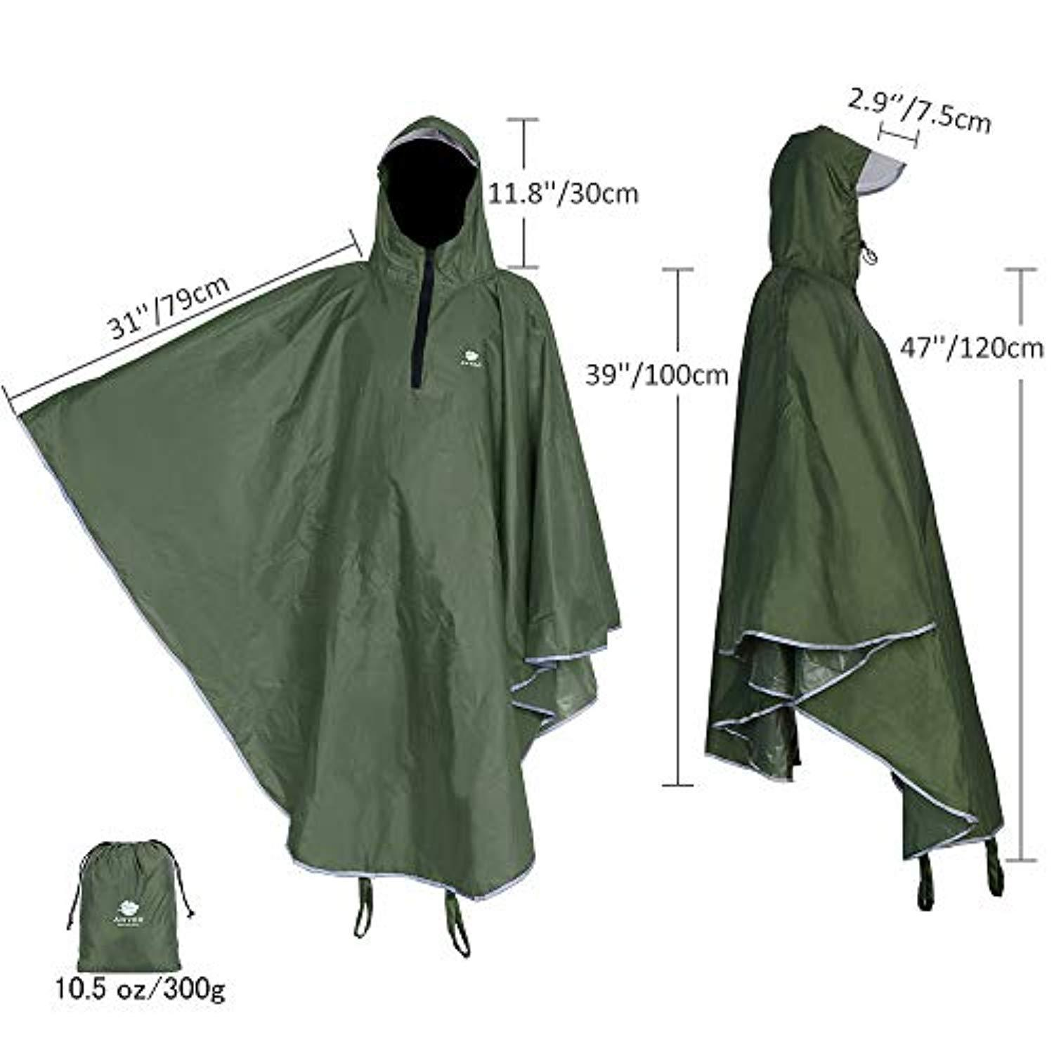 BLACK DELUXE Waterproof Army Adult Rain Poncho PVC for Festivals Theme Park