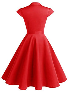 Women's 1950s Retro Rockabilly Dress Cap Sleeve Vintage Swing Dress