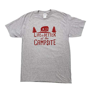 "Camco ""Life is Better at The Campsite"" Crew Neck Short-Sleeve T-Shirt (Heather Gray, X-Large) (53210)"