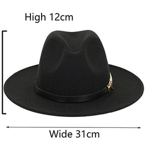 Women Simple Metal Belt Buckle Fedora Hat Vintage Wool Jazz Hat Panama Cap