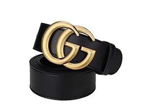 Women's black fashion, GG neutral business casual belt. (Old gold, (28-30) 100cm)
