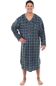 Alexander Del Rossa Mens Fleece Nightshirt, Long Warm Woven Kaftan