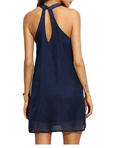 Womens Halter Neck Chiffon Tunic Tank Dress T Shirt Dresses