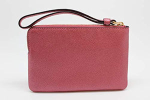 Crossgrain Leather Metallic Corner Zip Wristlet