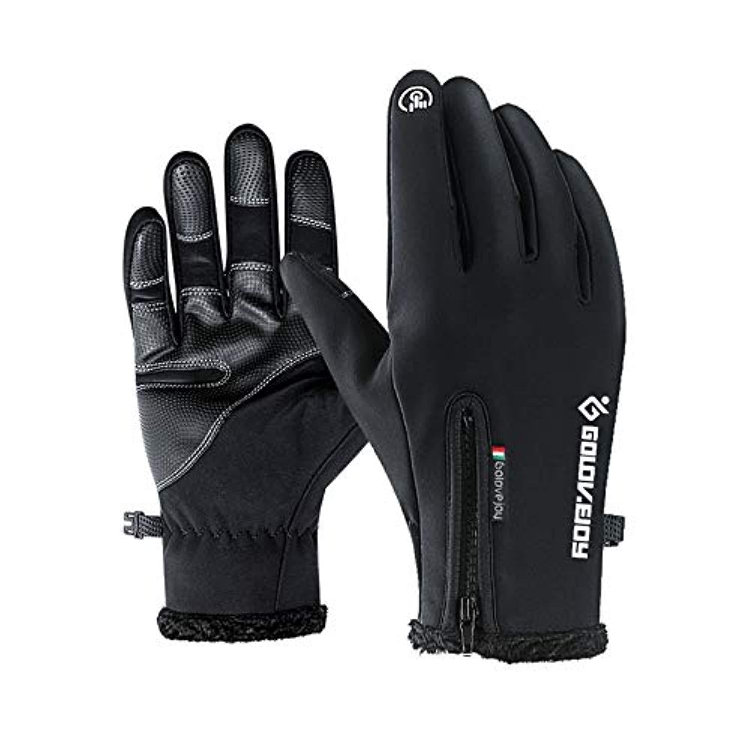 Men/'s Winter Warm Gloves Black Touch Screen Windproof Waterproof Outdoor Sport