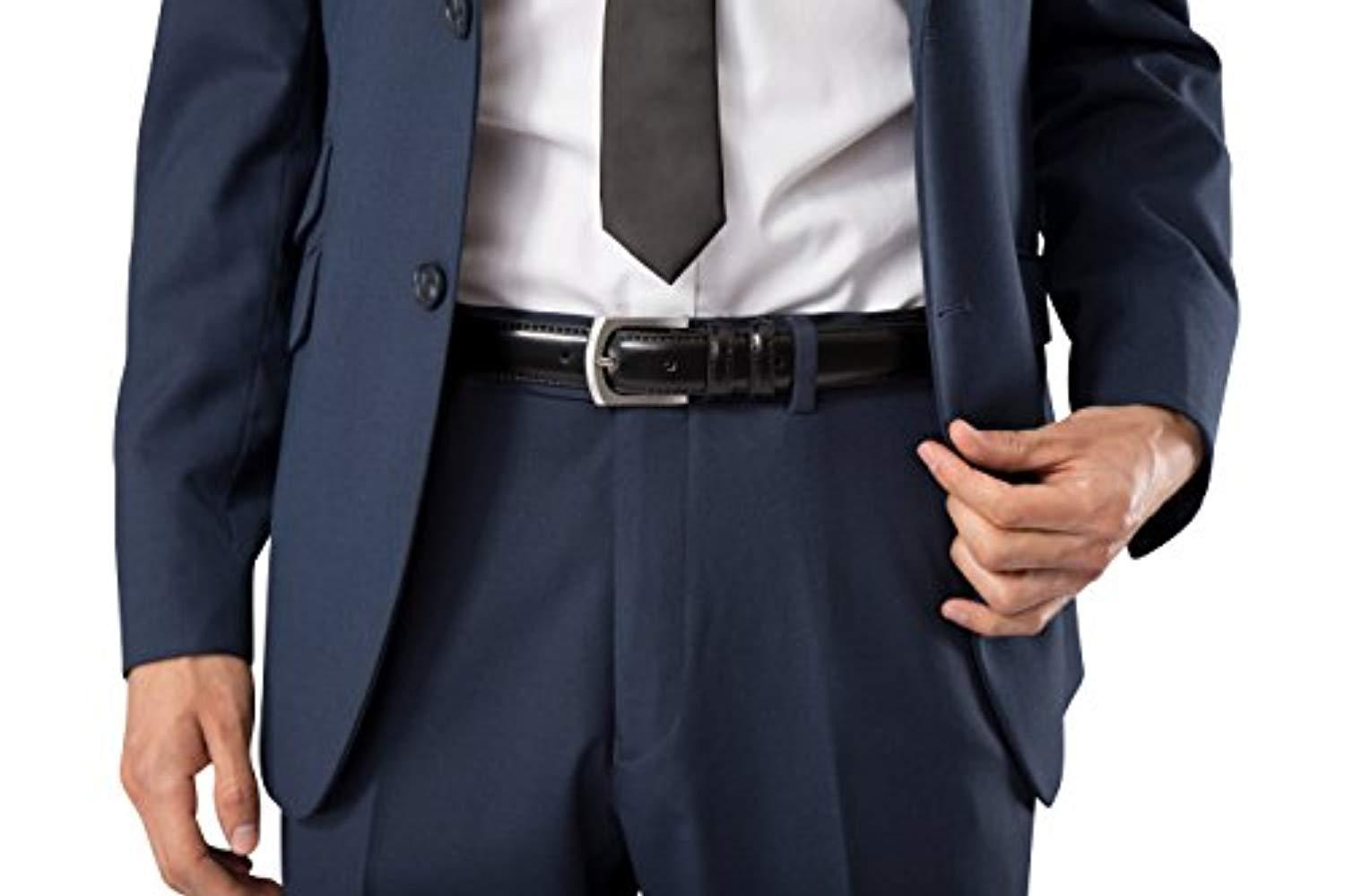Mens Genuine Leather Dress Belt Classic Stitched Design 30mm ALL LEATHER Regular Big and Tall Sizes