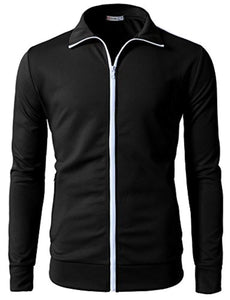 H2H Mens Active Slim Fit Track Jacket Zip-up Long Sleeve Training Basic Designed