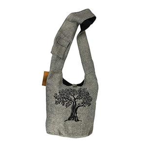 Fair Trade Large Sling Crossbody Shoulder Bag Purse Hippie Hobo Gypsy Bohemian (Grey Tree)