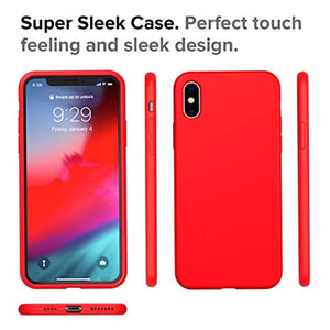 Rapify Case for iPhone Xs Max 6.5-Inch Liquid Silicone 360 Full Protection Rubber Gel Cover Slim [ Anti-Fingerprint ] [ Scratch-Resistance ] [ Smooth Touch Feeling ] - Red