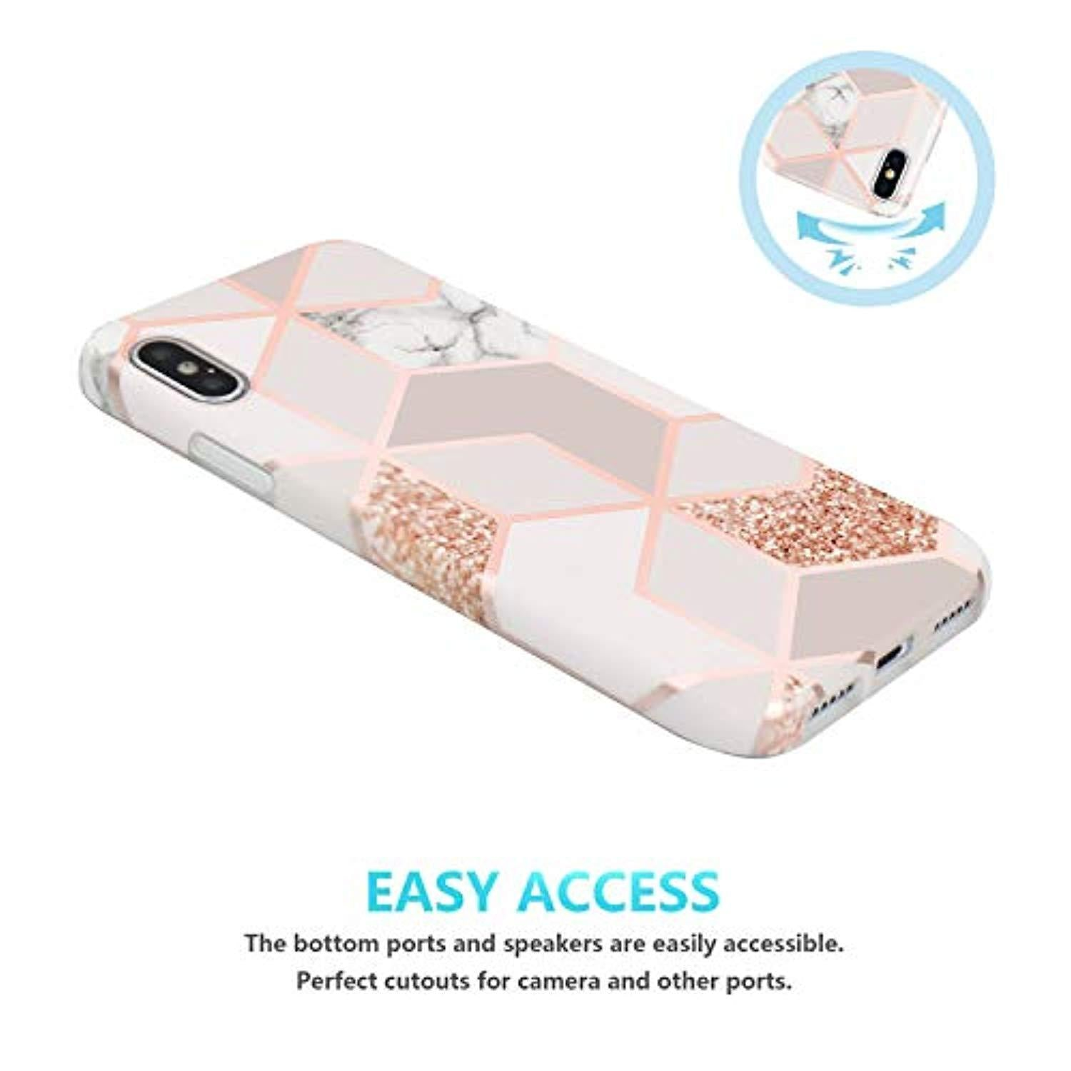 JAHOLAN iPhone 11 Case Bling Glitter Sparkle Marble Design Clear Bumper TPU Soft Rubber Silicone Cover Phone Case for iPhone 11 6.1 inch 2019 Rose Gold