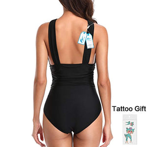 W YOU DI AN Women's Swimsuits One Piece Tummy Control Front Cross Backless Swimsuit Bathing Suit
