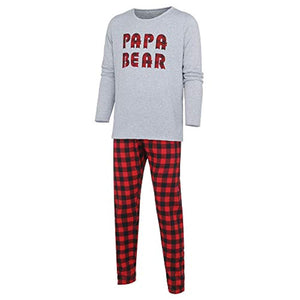 Seaintheson Family Matching Christmas Pajamas Set, Xmas Letter Print Top and Plaid Pants Sleepwear Nightwear Homewear Outfits