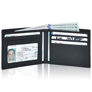 RFID slim wallet Bifold for men- Genuine Leather bifold Thin credit card ID window