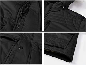 JYG Men's Winter Thicken Coat Quilted Puffer Jacket with Removable Hood