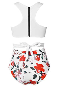 CUPSHE Women's Lilies Print Tank Top One-Piece Swimsuit
